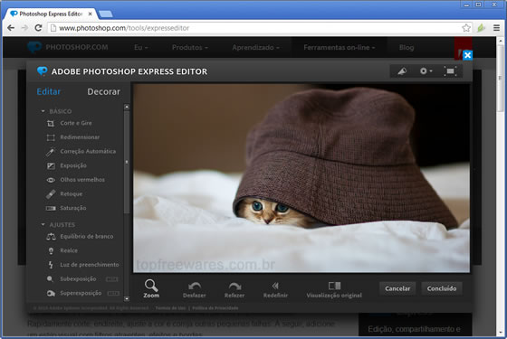 Editor de fotos online - Photoshop Express