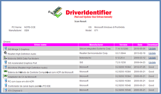 Programa gratuito para atualizar os drivers do PC - DriverIdentifier