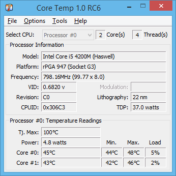 Programa para monitorar a temperatura do PC - Core Temp