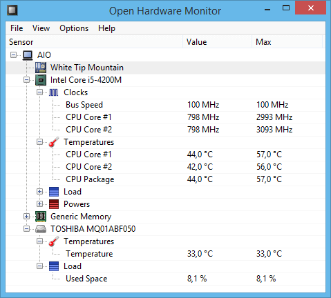 Programa para monitorar a temperatura do PC - Open Hardware Monitor