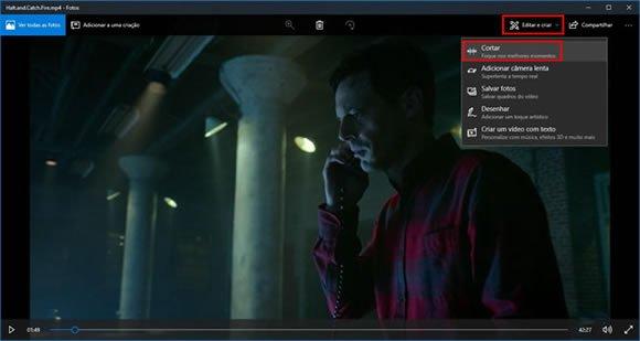 aplicativo fotos windows10 recortar video