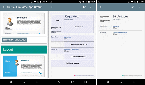curriculum vitae app android