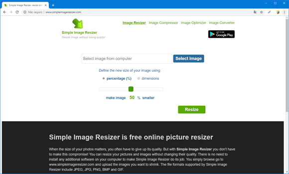 simple image resizer site