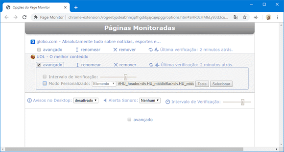 page monitor chrome