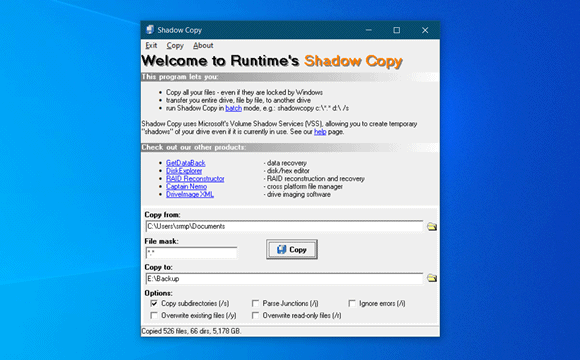 runtime shadow copy