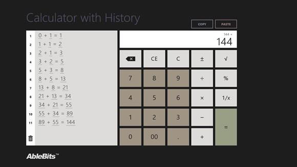 calculator history win10