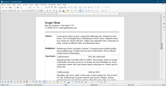 libre office curriculo