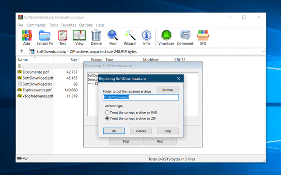 winrar reparar arquivo