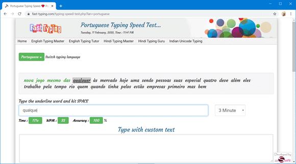 fasttyping teste digitacao