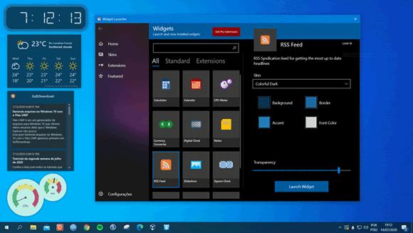 widget launcher previsao desktop